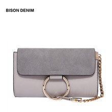 BISON DENIM Women Shoulder Bag Small Envelope Messenger Bag PU Leather Female Crossbody Bag Metal Circle Casual  Bag L1414