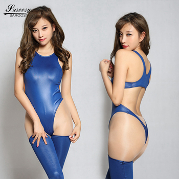 Sexy Faux Leather Oil Shiny Backless High Cut Bodysuit