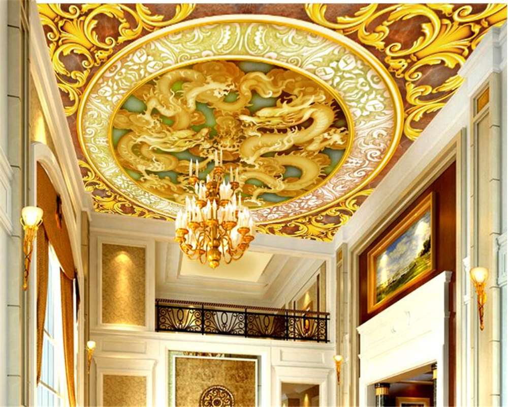 beibehang Custom large fashion beautiful wallpaper classic yellow jade carving indoor high-level roof 3d flooring papier peint beibehang classic fashion retro large