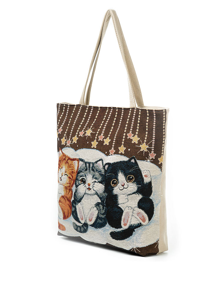 670acadbe0 Cute Cats Print Canvas Shoulder Bag Women Large Capacity Embroidery ...