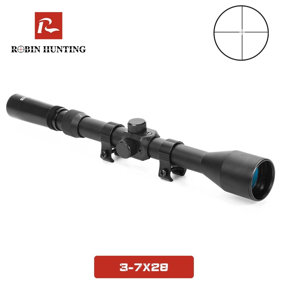 3-7x28 caça óptica rifle escopos 11mm ferroviário montagens para 22 calibre pistola de ar escopo tático besta riflescope