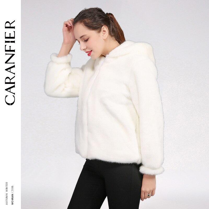 CARANFIER femmes fausse fourrure manteau hiver chaud veste fourrure pardessus femme Zipper manteau à capuche court survêtement élégant femmes veste