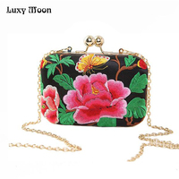 Embroidery Handbags National Women Handbag Evening Clutch Bags Women Wedding Bags Messenger Bags Chains Bolsas Feminina