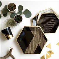 Gold Black Disposable Tableware Set Party Paper Plates Napkins Cups Straws Birthday Party Wedding Christmas Decor Party Supplies