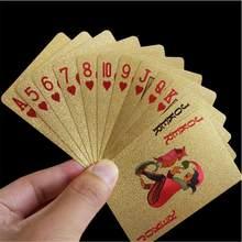 Cartas de juego de oro de 24K, 54 Uds., 100% de cubierta de plástico PVC creativo, cartas de póker de juego informales impermeables