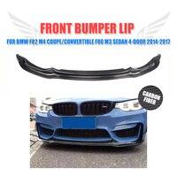 Carbon Fiber Front Bumper Lip Spoiler Chin For BMW F82 M4 2 Door F80 M3 Sedan 4 Door 2014 2017
