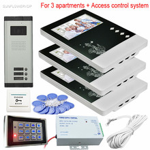 For 3 Apartments Video Door Intercom CCD 700TVL 3 Buttons Intercom Door Phone System With Rfid Keypad Access Control System Kits