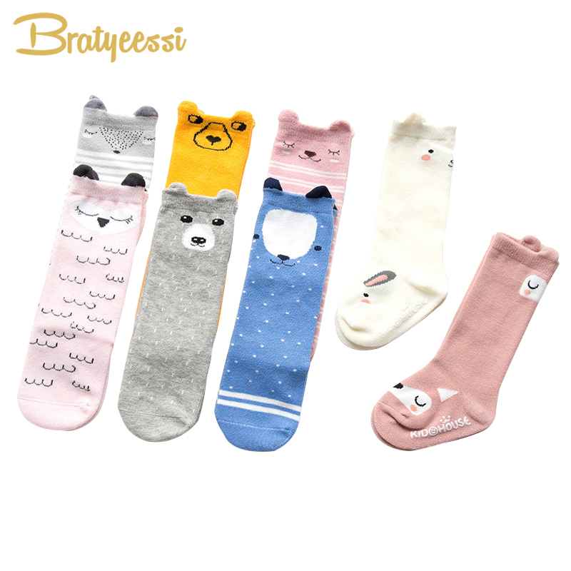 Cute Cotton Baby Socks With Ears Anti-Slip Fox/Bear/Owl/Bunny Infant Knee High Socks Newborn Accessories 8 Colors 1 Pair