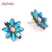 13 Colors 2017 New Flower Earrings For Women Simulated Cubic Zirconia Geometric Stud Earrings Jewelry