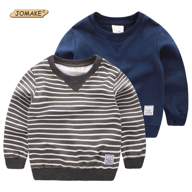 Striped And Solid Children Tops Long Sleeve Cute Boys Clothes Kids Hoody High Quality Baby Boys Sweatshirt Handsome Boys T-Shirt