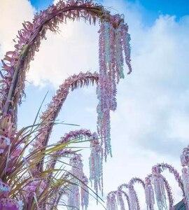 Image 4 - 100 sztuk/partia 24 kolory sztuczny kwiat jedwabiu Wisteria kwiat winorośli domu ogród ściany wiszące Rattan DIY wesele dekoracji