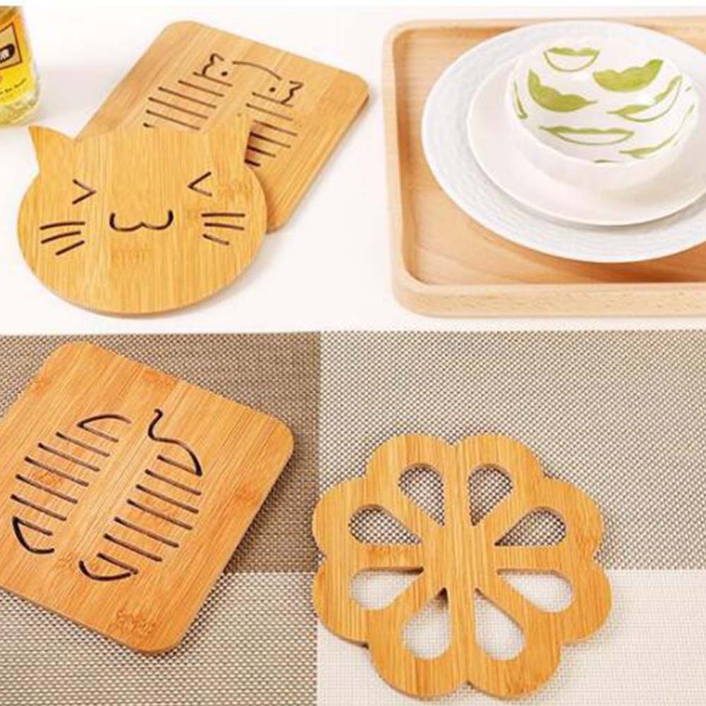 1 PC Wooden Carved Coasters Table Pad Cartoon Cat Rabbit Cup Mug Mat Coffee Tea Holder Home Decor Tableware Pads
