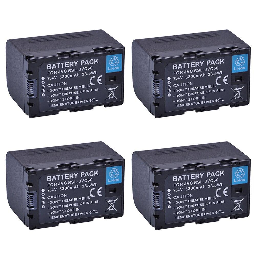 4x 5200mAh SSL-JVC50 SSL JVC50 Batery for JVC SSL-JVC50 GY-HMQ10 GY-LS300 GY-HM200 GY-HM600 GY-HM600EC GY-HM650 GY-HM250 Camera чехлы накладки для телефонов кпк gy