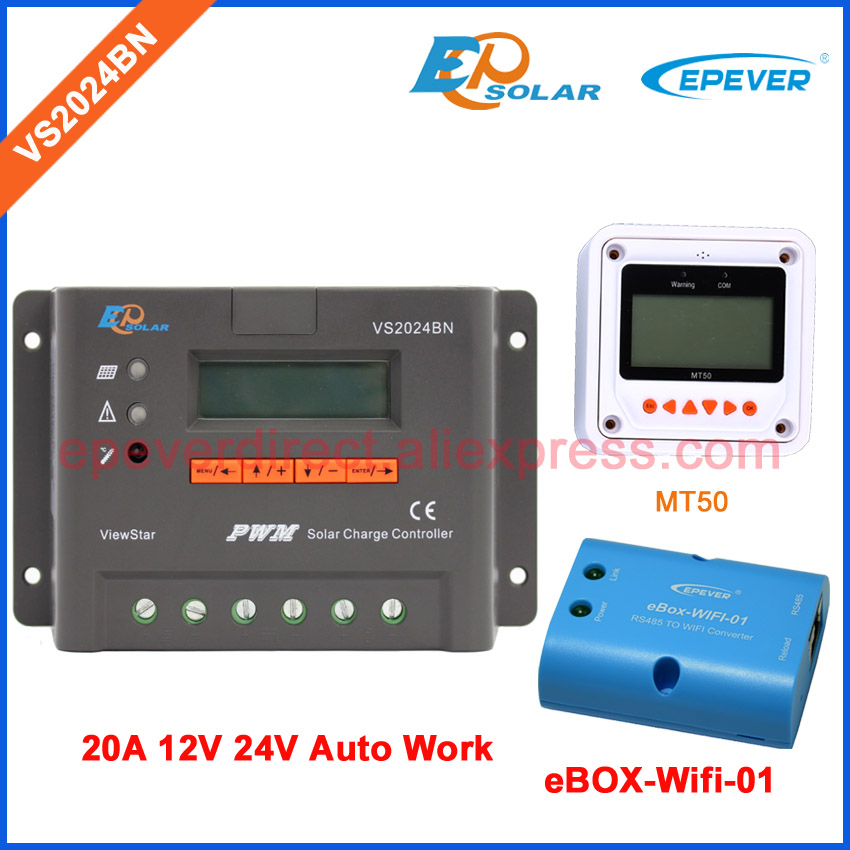 new EP EPSolar series solar panel system controller VS2024BN 20A 24v wifi BOX and MT50 remote meter 20amp 20a 12 24v solar regulator with remote meter for duo battery charging