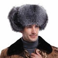 URSFUR Russian Silver Fur & Leather Bomber Fur Hat Women's Fur Hat With Visor with Stripe Adjustable Ushanka Cap