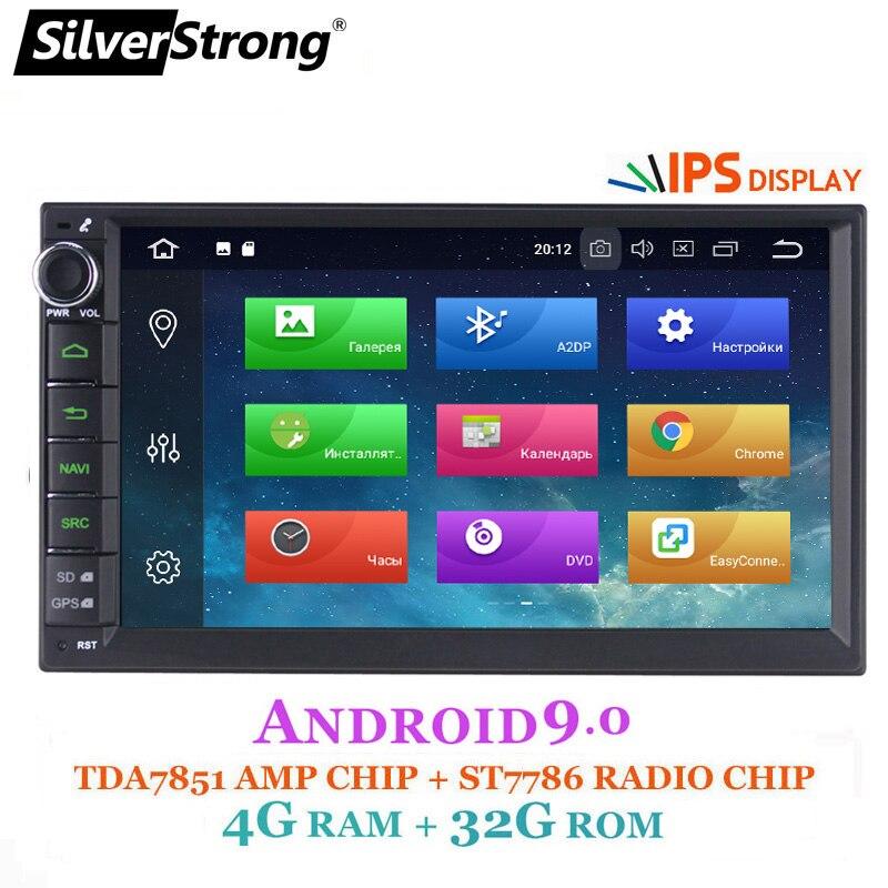 IPS Android 8.1-9.0 4 SilverStrong G Carro DVD 2din Universal GPS Do Carro Rádio Magnito opção de Navegação Gravador de Fita DSP 8.1 + 16G 707