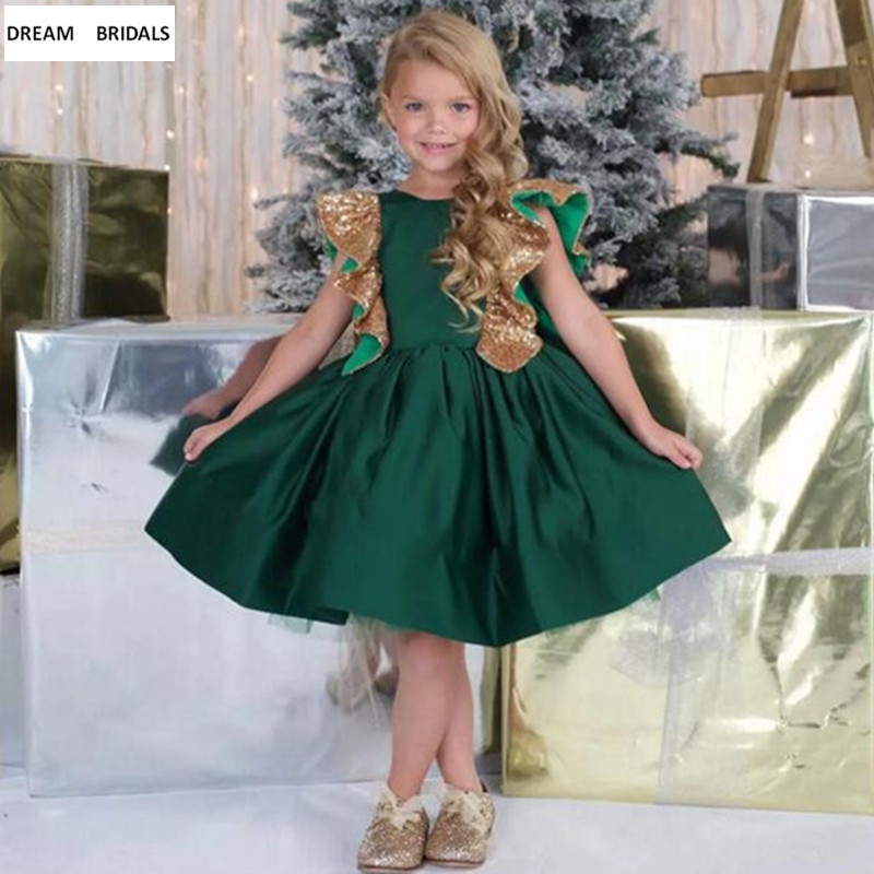 Emerald Green   Girls   Pageant   Dresses   2019 Knee Length   Flower     Girl     Dress   for Weddings Customized   Girl   Gowns With Sequins Bow