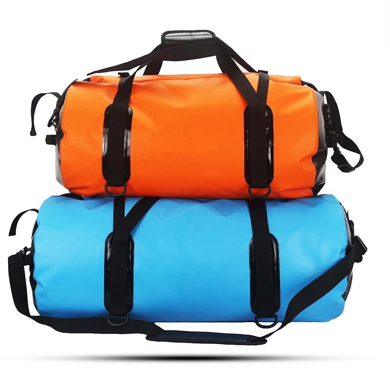 ФОТО GZL Waterproof saddle bag with rings 500D PVC tarpaulin men women 50L/60L travel dry bags brand fashion multi-purpose shoulder