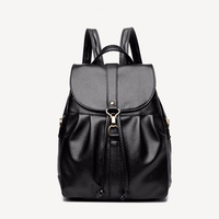Latest Fashion Women Simple Style All Match Litchi Stria Pu Leather Street Travel Office Double Shoulder Bag Black Backpack