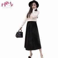 Coréenne Vintage Nouveau Tulle Rose Jupes Japonais Femmes D'été de Velours plissée Taille Haute Dames Boho Midi Jupe Noir Une Ligne Saias