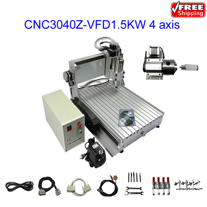 free shipping mini CNC 3040 1.5KW engraving machine ,4 axis drilling milling metal,plastic and wood, eur free tax cnc 6040z frame of engraving and milling machine for diy cnc router