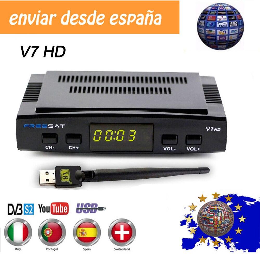 מכירה לוהטת לווין טלוויזיה מקלט Freesat V7 HD קולטן לתמוך אירופה קליין עבור ספרד DVB-S2 לווין מפענח Freesat V7S HD