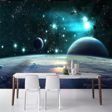 Custom 3d magnificent universe Earth planet stars background wall paper mural high-grade waterproof material