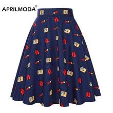 שפתיים אדומות קיץ רטרו 50s Swing חצאית גבוהה מותן הפבורן Pinup מסלול קפל חצאית בציר 1950s 60s בית ספר מסיבת חצאיות