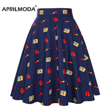 Red Lips Printed Summer Retro 50s Swing Skirt High Waist Hepburn Pinup Runway Pleat Skirt Vintage 1950s 60s School Party Skirts