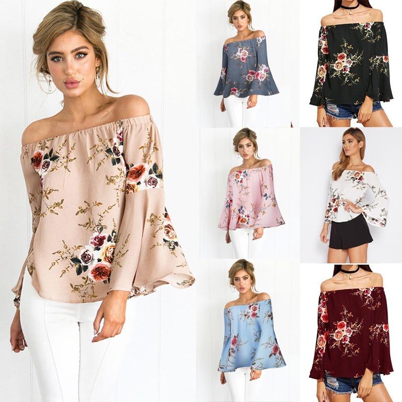 Women Flower Print Blouse Off shoulder Ladies Elegant slash neck Tops Shirts Casual Flare Sleeve Female Plus Size Blusas