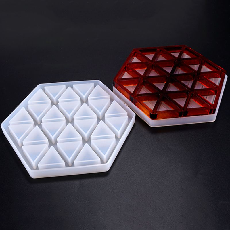 Handmade Resin Epoxy Geometry Silicone Mold DIY Insulation Hollow Striped Triangle Modeling Hexagon Coaster in Jewelry Tools Equipments from Jewelry Accessories