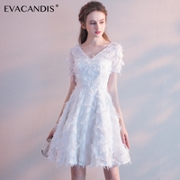 White V Neck Short Wedding Party Dress Elegant Plus Size Tunic Red Evening Summer Dress Women Christmas Vestidos De Fiesta 2018