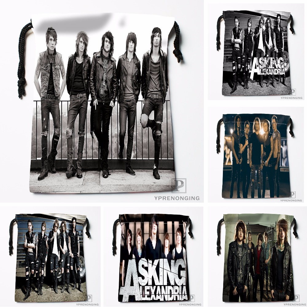 Custom Asking Alexandria Drawstring Bags Printing Travel Storage Mini Pouch Swim Hiking Toy Bag Size 18x22cm#180412-11-68