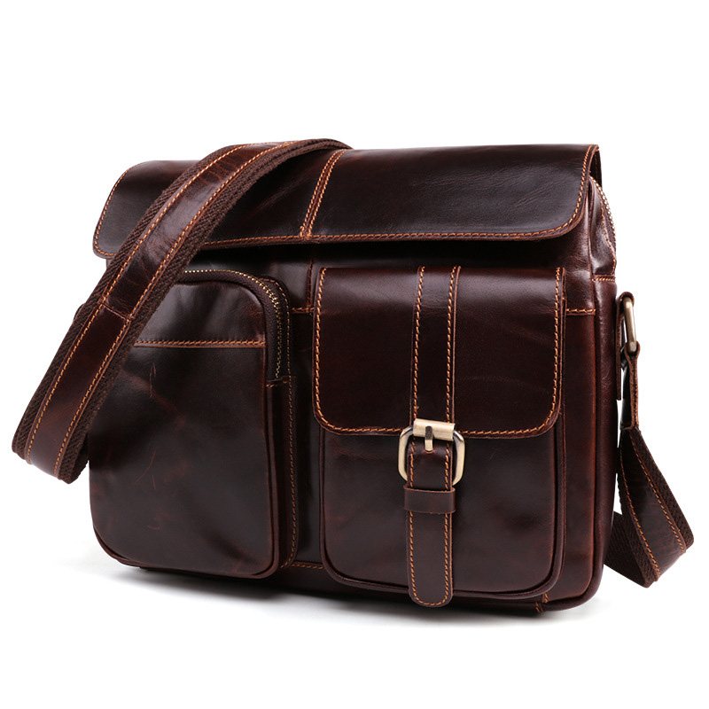 Waxed Real Leather Messenger Bag For Men Cowhide Shoulder Bags Cross Body Bags Vintage Satchel vintage 100% cowhide leather dslr slr camera video bag cross body messenger bags for sony canon nikon men s handbags travel bags
