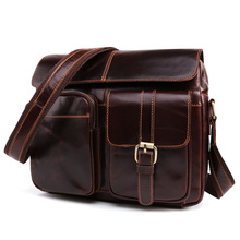 Waxed Real Leather Messenger Bag For Men Cowhide Shoulder Bags Cross Body Bags Vintage Satchel