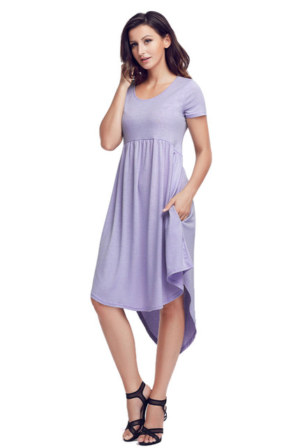 2e0650991d8 fashion Cocktail Party dresses women s casual streetwear Jersey Mauve Short  Sleeve High Low Pleated Casual Swing Dress 220045-8