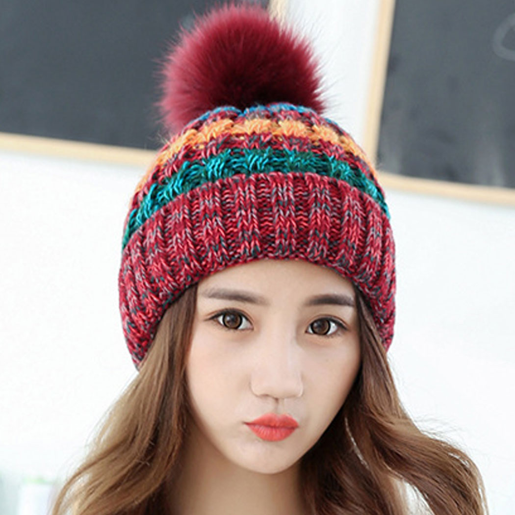 Knitted Wool Autumn Winter Hats For Women Fur Pompon Beanie Cap Crochet Female Warm Hat Mix Color Women Casual Bonnet Femme hopebird letter leather brand gorros knitted cap baggy beanie winter female pompon women hat skullies autumn bonnet femme cap
