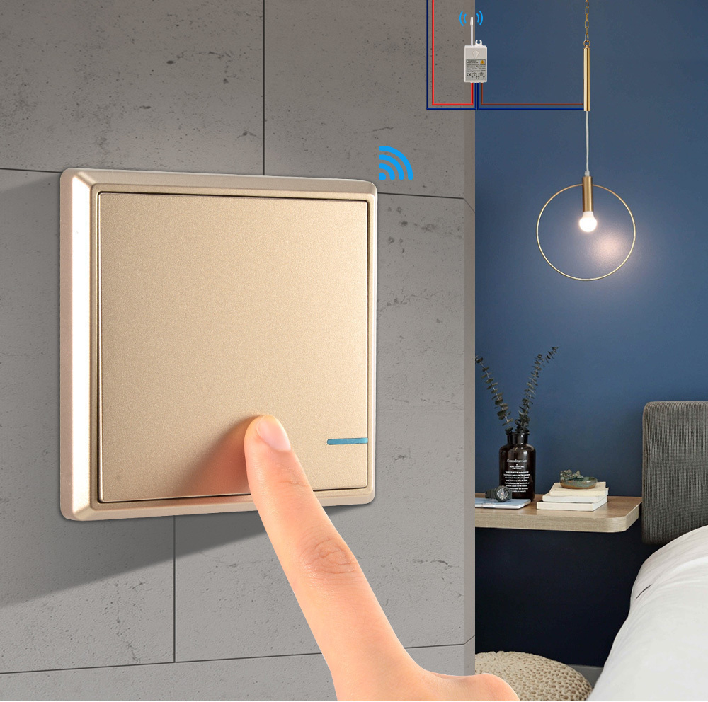 Wireless Light Switch and Receiver Kit 220V IP54 Waterproof Wall Switch Light Switches Remote Control Ceiling Lamps LED Bulbs