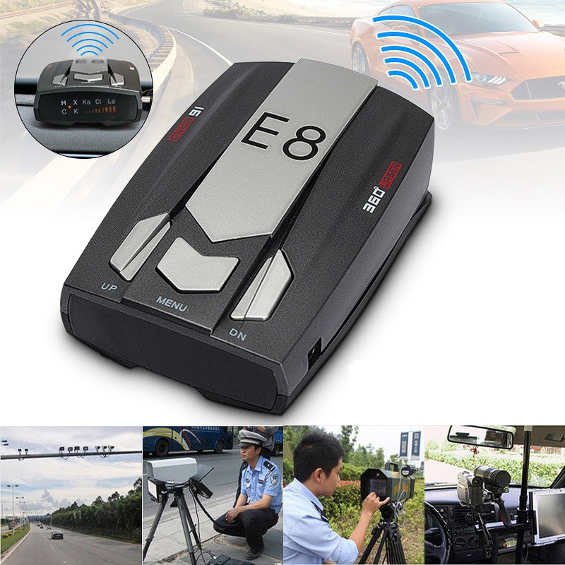 E8 Car Radar Detector 360 Degrees LED Display Alert Warning Anti Radar Detectors Russia / English Voice