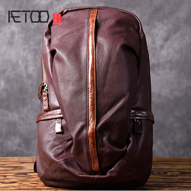AETOO Leather backpack leisure travel backpack first layer leather bag fashion men's large capacity travel bag aetoo original first layer leather backpack men cow leather shoulder bag retro backpack travel bag leisure large male bag