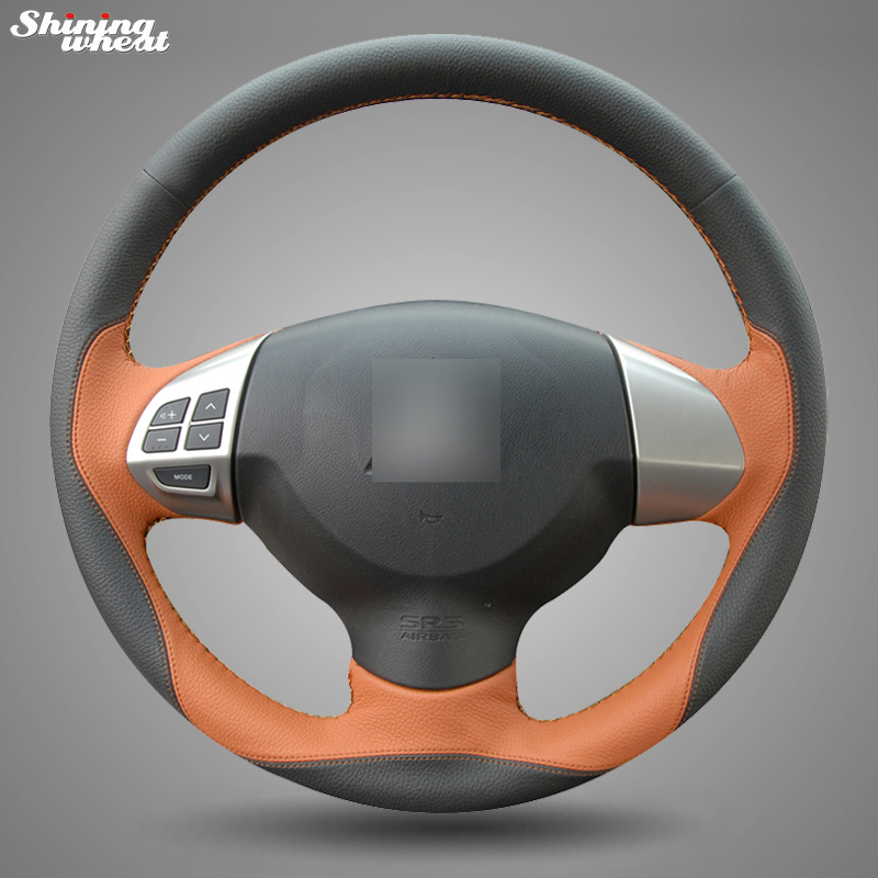 Shining wheat Black Brown Leather Steering Wheel Cover for Mitsubishi Lancer EX 10 Lancer X Outlander ASX Colt Pajero Sport mewant black genuine leather black suede car steering wheel cover for mitsubishi lancer ex outlander asx colt pajero sport