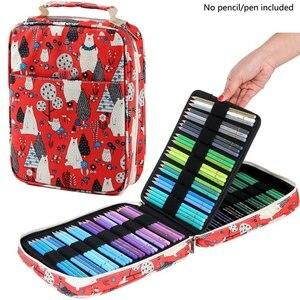 Image 3 - Kawaii 150 слотов футляр для карандашей 4 слоя на молнии сумка с принтом большой емкости для хранения пенал школьные принадлежности