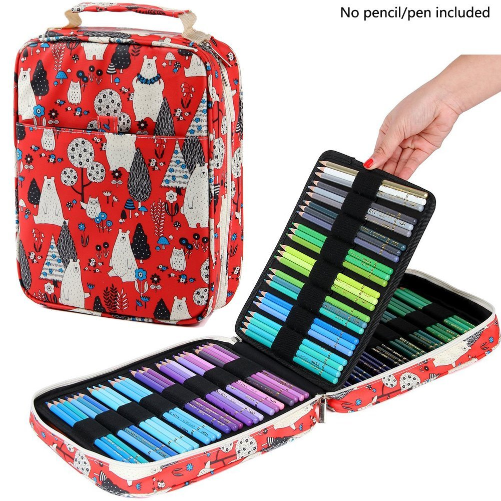 Kawaii 150 Holds Pencil Case Holder with Zipper 4 Layers Hand-painted Large Capacity Storage Box Pencil Bag Astuccio Scuola big capacity high quality canvas shark double layers pen pencil holder makeup case bag for school student with combination coded lock