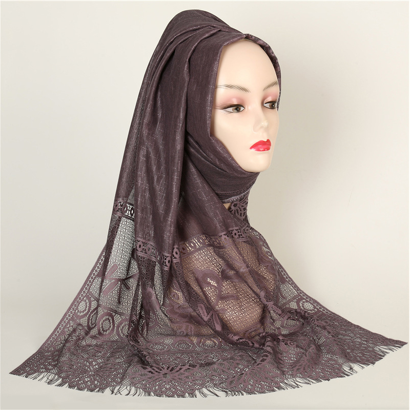 Women Cotton Viscose Scarf Lace Hijab Floral Lace Stole Foulard Breathable Thin Summer Shawl Wrap Muslim Head Scarves Hijab(China)