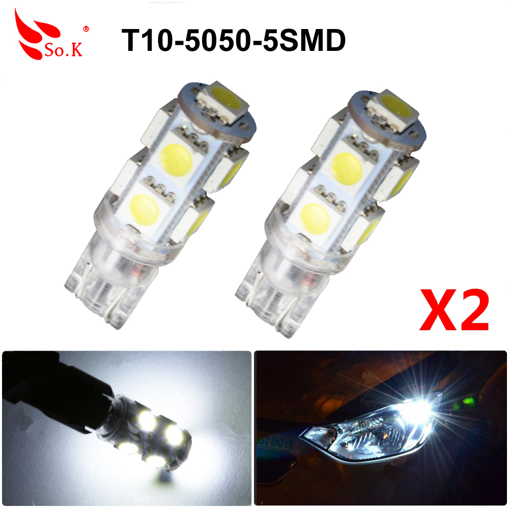 2X Car White T10 LED 5 SMD Side Wedge Tail Light Lamp Bulb W5W 194 168