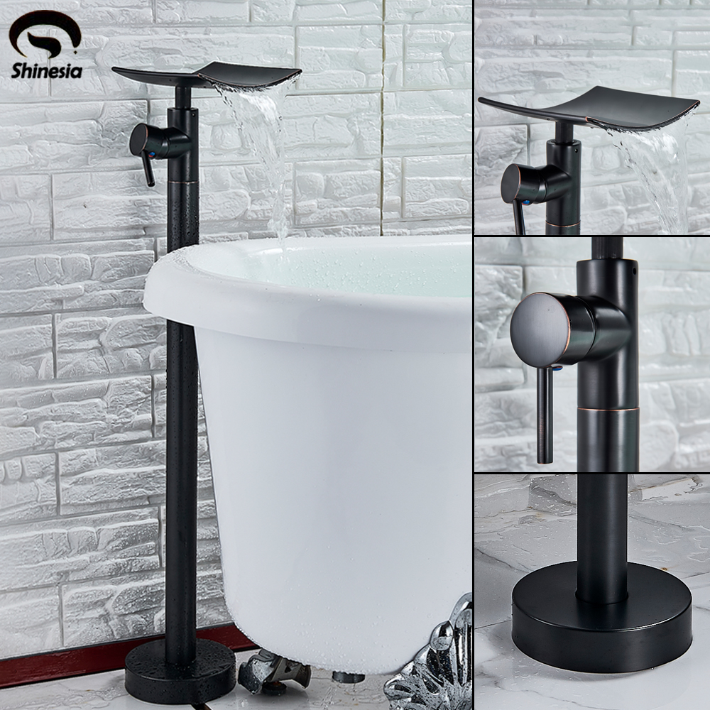 Shinesia Brass Black Bronze Bathtub Faucet Single Handle Hot And Cold Water Mixer Tap Bathroom Shower
