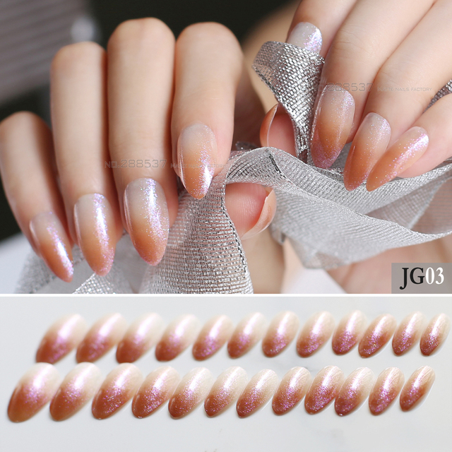 24pcs pink glitter gradient stiletto nails red medium Nude fake nails brown Translucent nature False nails Full Nail blue rose