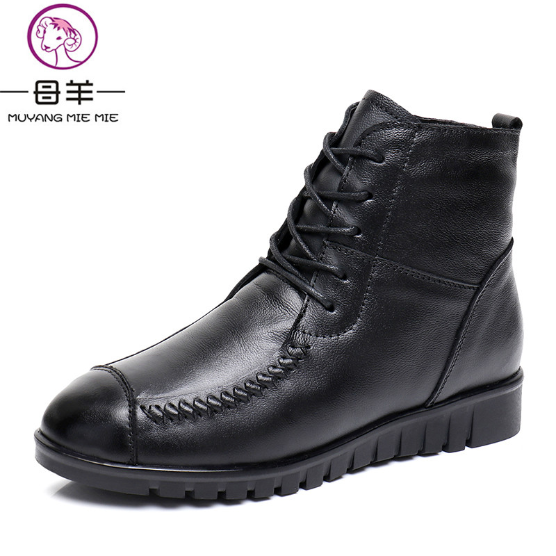 MUYANG MIE MIE Winter Women Shoes Woman Genuine Leather Flat Snow Boots Lace-up Casual Ankle Boots Women Boots front lace up casual ankle boots autumn vintage brown new booties flat genuine leather suede shoes round toe fall female fashion