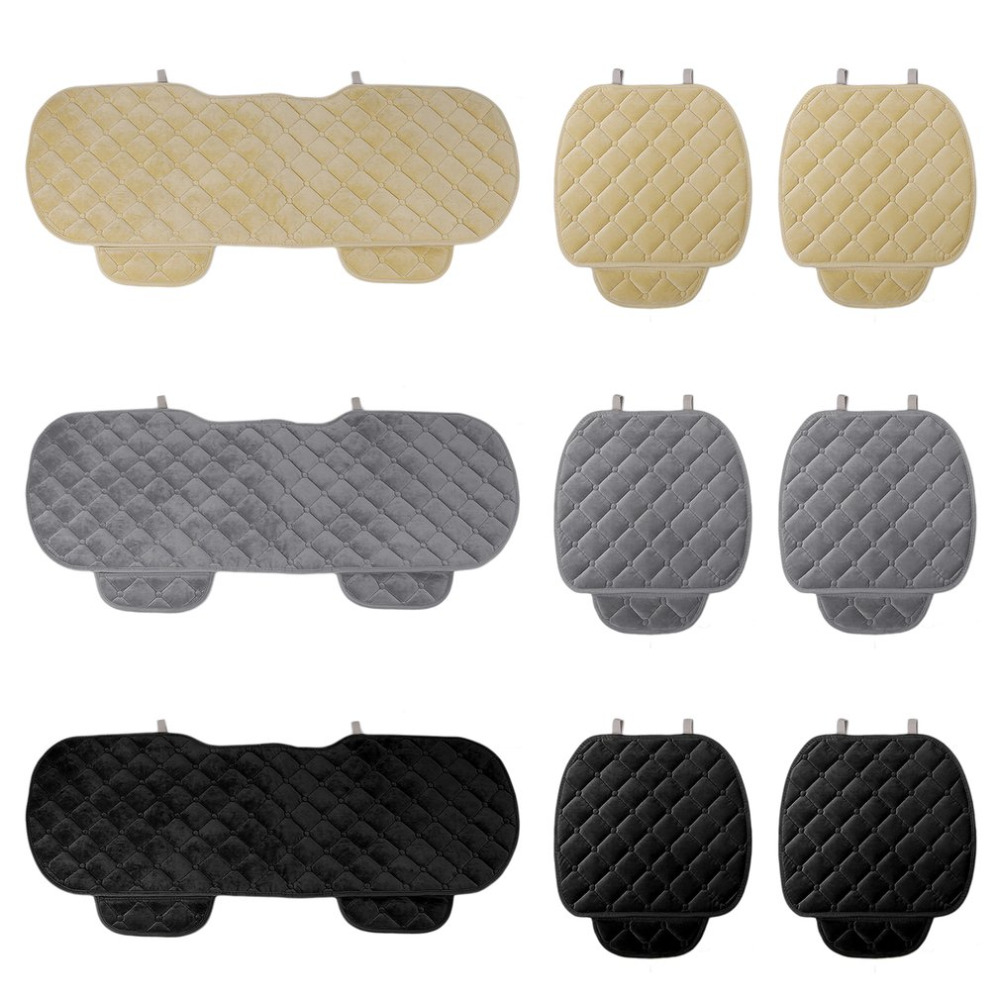 New Car 3PCS/Set Universal Comfortable Square Soft Cotton Car Seat Cushion Front Back Seat Covers Auto Chair Pad Mat Car Supplie