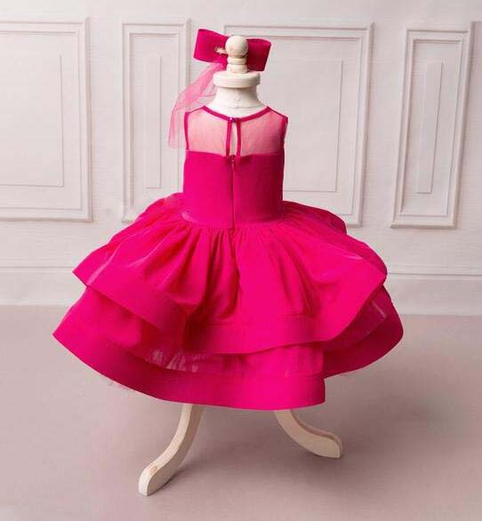 Puffy fuchsia flower girl dress for evening prom party ball gown ...